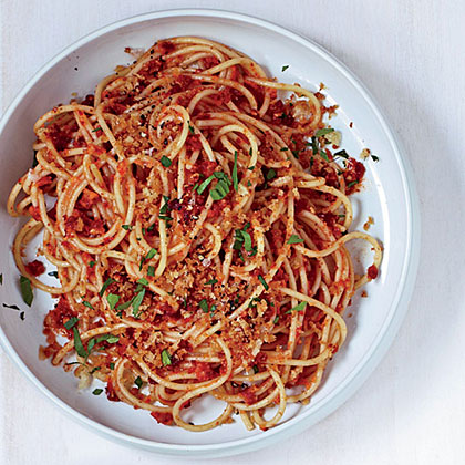 Spaghetti with Sun-Dried-Tomato-Almond Pesto