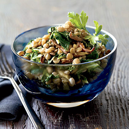 Spiced Lentils with Mushrooms and Greens Recipe