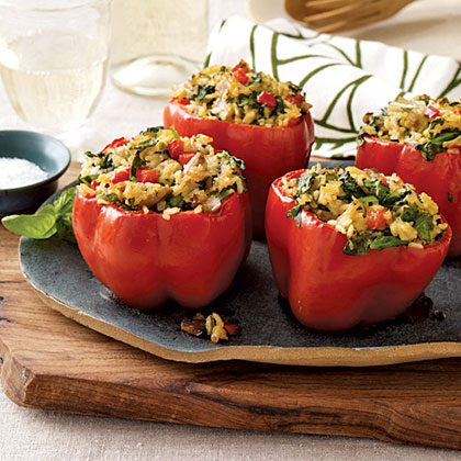 Stuffed Peppers with Thai Curry Rice and Mushrooms RecipeEmilee and Jere Gettle make this hearty vegetarian dish when bell peppers are at their peak in late summer.