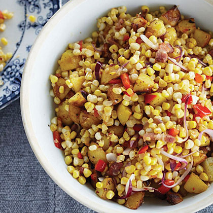 Warm Corn Chowder Salad with Bacon and Cider Vinegar Recipe