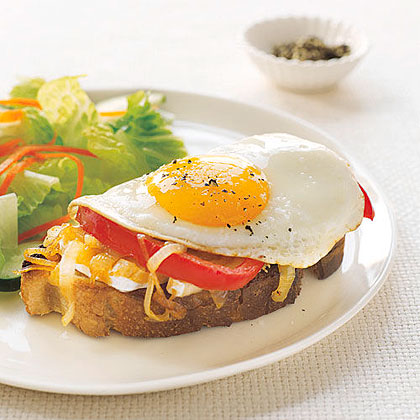 Open-Face Egg and Brie Sandwiches Recipe | MyRecipes
