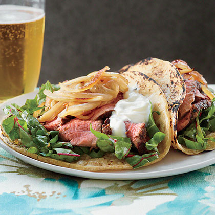 Beef Tenderloin, Swiss Chard, and Caramelized Fennel Tacos Recipe