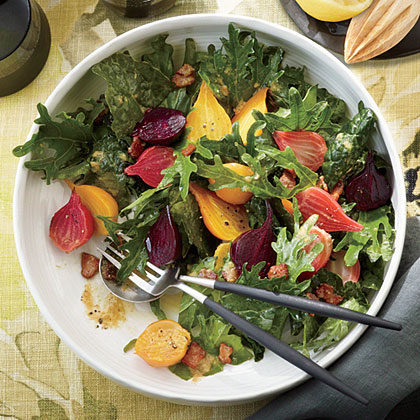 Fizz Kale Salad with Roasted Garlic-Bacon Dressing and Beets Recipe