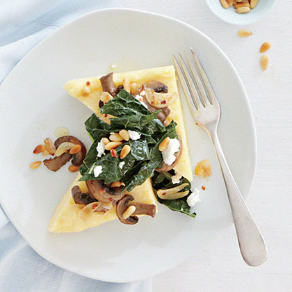 Goat Cheese Polenta with Sautéed Kale