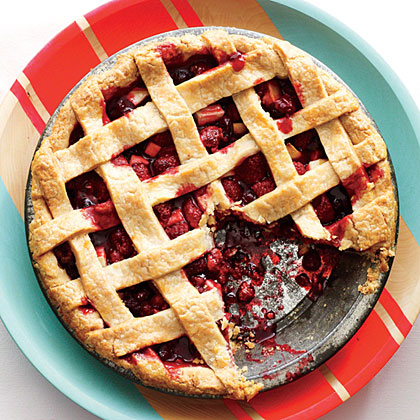 Lattice-Topped Cranberry-Raspberry Pie