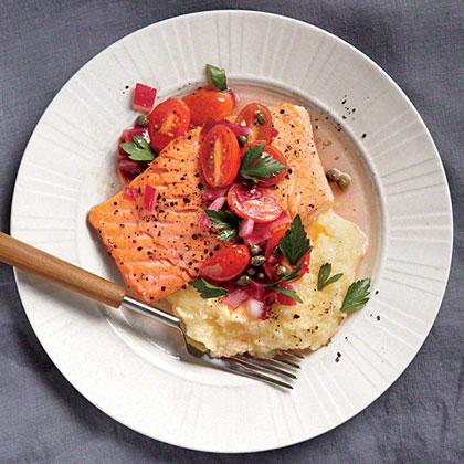Salmon with Polenta and Warm Tomato Vinaigrette