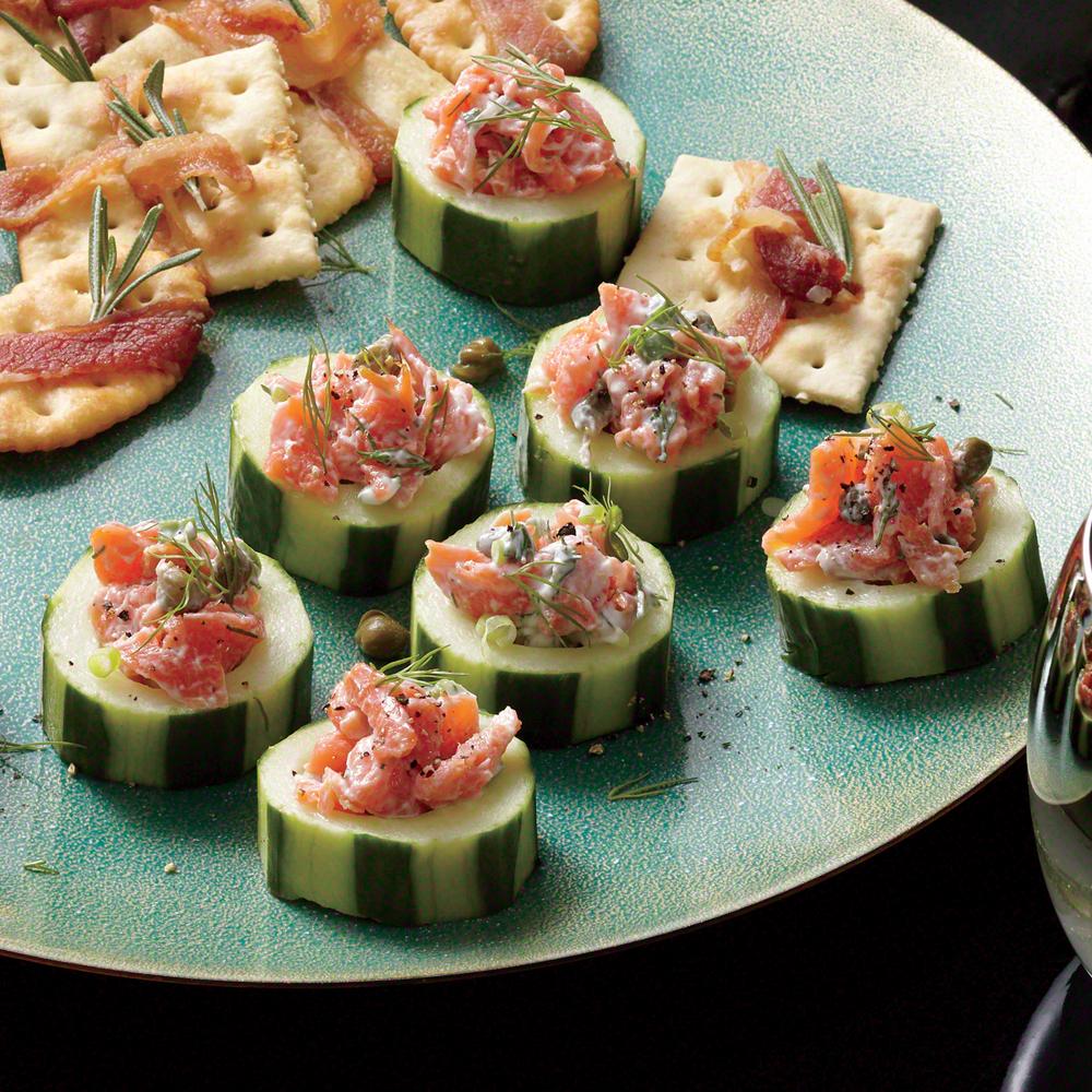 Smoked Salmon Salad in Cucumber Cups