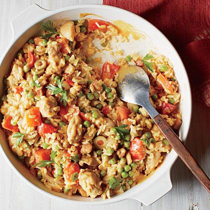Spanish Chicken and Rice with Saffron Cream Recipe