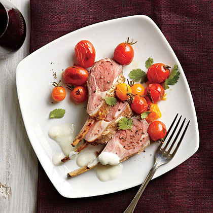 Spice-Rubbed Racks of Lamb with Yogurt Sauce Recipe