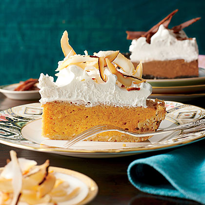 Coconut-Pumpkin Chiffon Pie RecipeMake and refrigerate without the topping a day ahead. Whip and add the topping before serving.