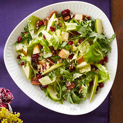 Harvest Salad RecipeBosc pears, Granny Smith apples, and dried pecans are tossed together with romaine and baby arugula for seasonal Harvest Salad.