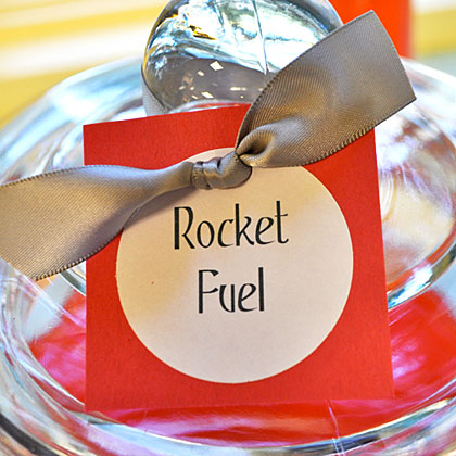 Giving basic punch or juice a fun name keeps it right on theme. Name your drink of choice Rocket Fuel and watch it disappear!
