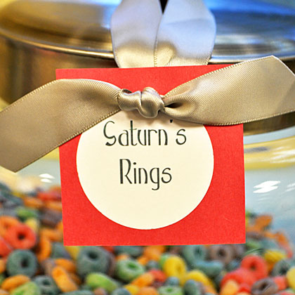 Serve a snack that satisfies and teaches a bit about space. Saturn's Rings, also known as Fruit Loop cereal, are a delicious introduction to planets.