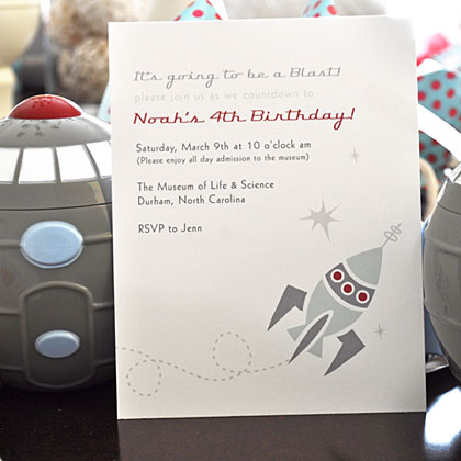 Invite pint-sized astronauts to your space birthday party in style with an invitation featuring futuristic fonts and, of course, a rocket ship. You can find vendors, like Olive & Star who designed this invitation, on sites like Etsy who are willing to match their designs to your party decor.