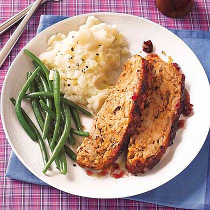 Turkey Meat Loaf with Cranberry Glaze