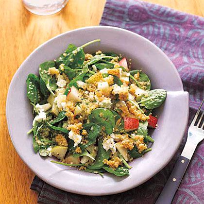 Whole-Wheat Couscous with Spinach and Pears