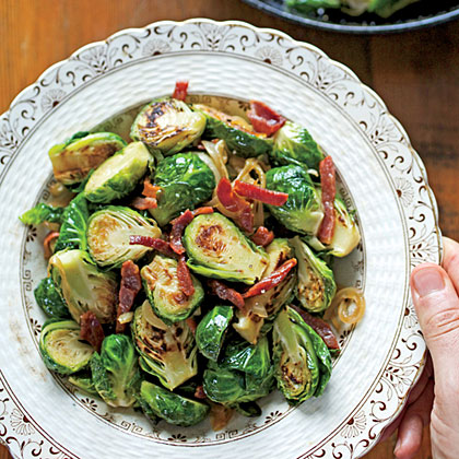 Brussels Sprouts with Ham and Caramelized Onions