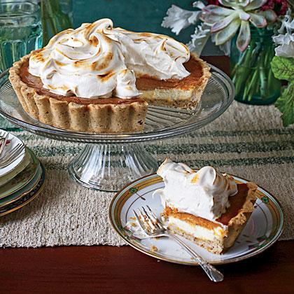 Pumpkin Cheesecake Tart with Honey Swiss Meringue