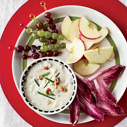 Blue-Cheese-and-Walnut Dip with Waldorf Crudites
