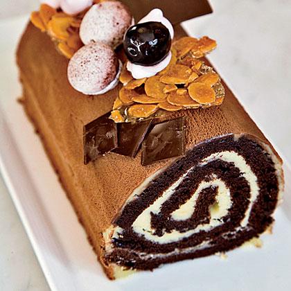 Cherry-and-Chocolate Buche de Noel Recipe