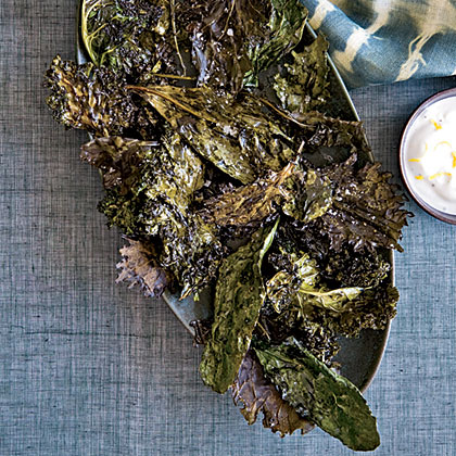 Crispy Kale with Lemon-Yogurt Dip Recipe