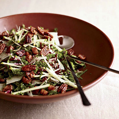 Kale & Apple Salad with Pancetta and Candied Pecans Recipe