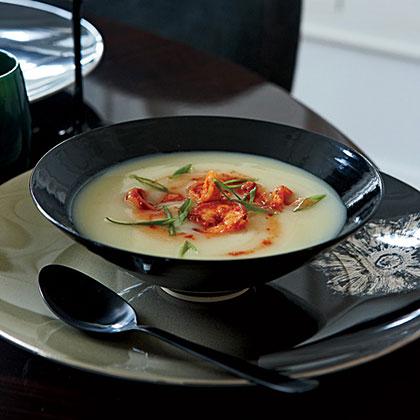 Potato Soup with Spicy Shrimp