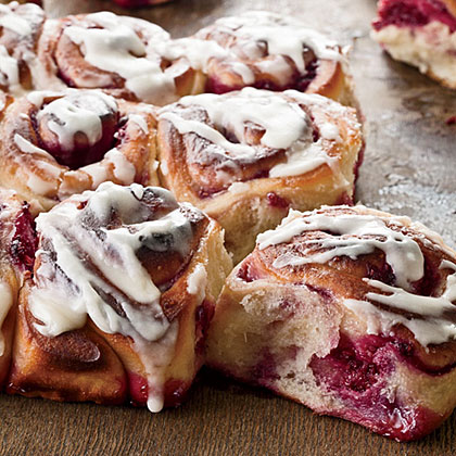 Raspberry-Swirl Sweet Rolls RecipeThese puffy fruit-filled sweet rolls are a delectable twist on the traditional cinnamon roll.