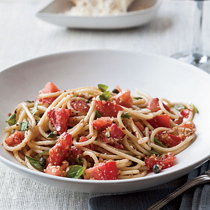 Spaghettini with Tomatoes, Anchovies and Almonds Recipe