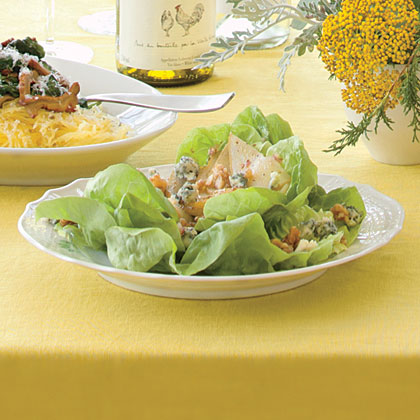Bibb Salad with Peppered Pears and Candied Walnuts Recipe