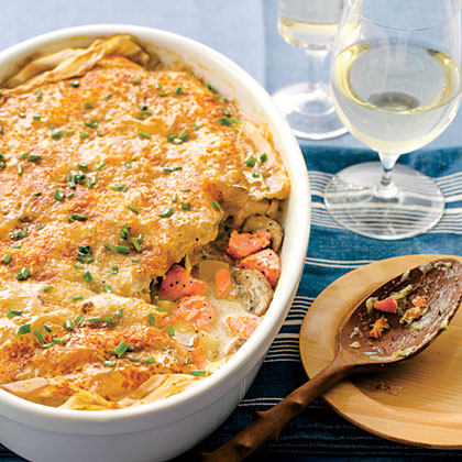 Crisp Phyllo-topped Salmon Pot Pie