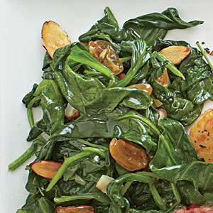 Sautéed Spinach with Almonds and Raisins