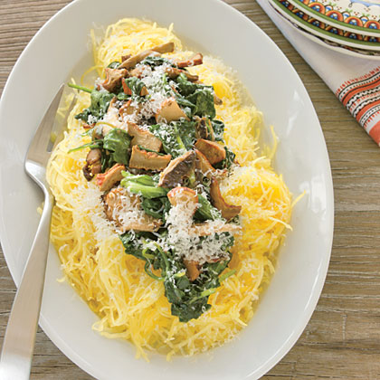 Spaghetti Squash with Sautéed Spinach Recipe