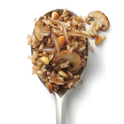 Mushroom and Pine Nut Fried Brown Rice