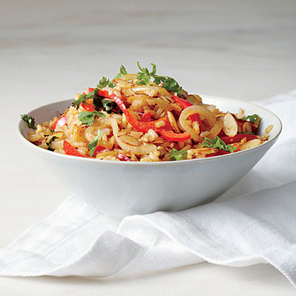 Fried Brown Rice with Red Pepper and Almond Recipe