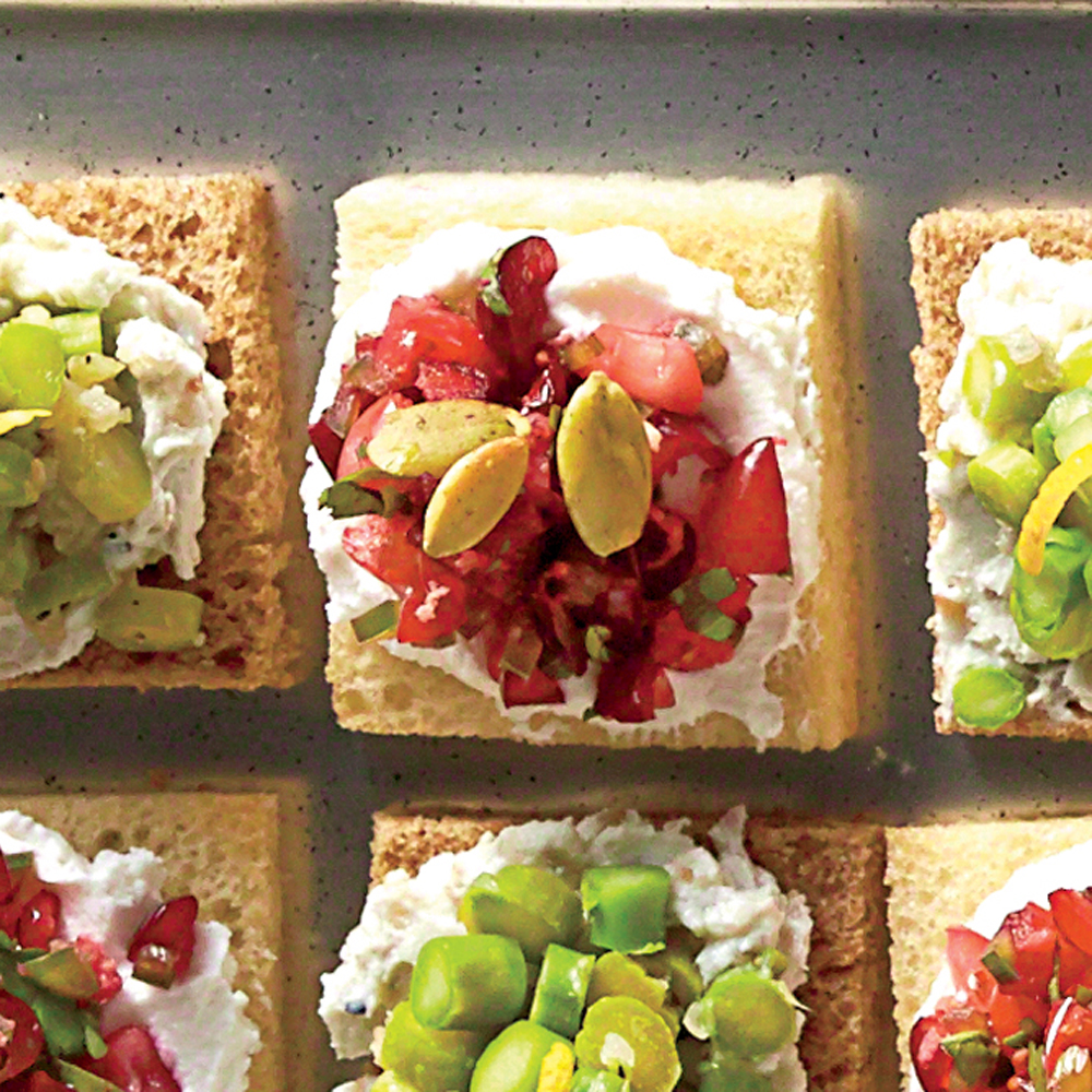 Cranberry goat cheese canap s recipe myrecipes for Cheese canape ideas