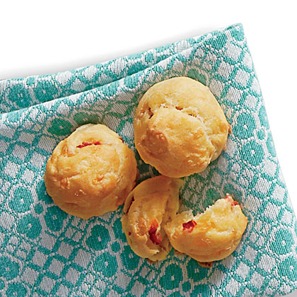 Pimiento Cheese Gougères RecipeStamp a Southern accent on this classic French hors d'oeuvre. You can use a piping bag with a 1/2-inch round tip or a zip-top plastic freezer bag with a corner snipped off to pipe the dough onto the baking sheets.