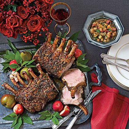 Sage-Crusted Pork Racks with Pear Chutney Recipe