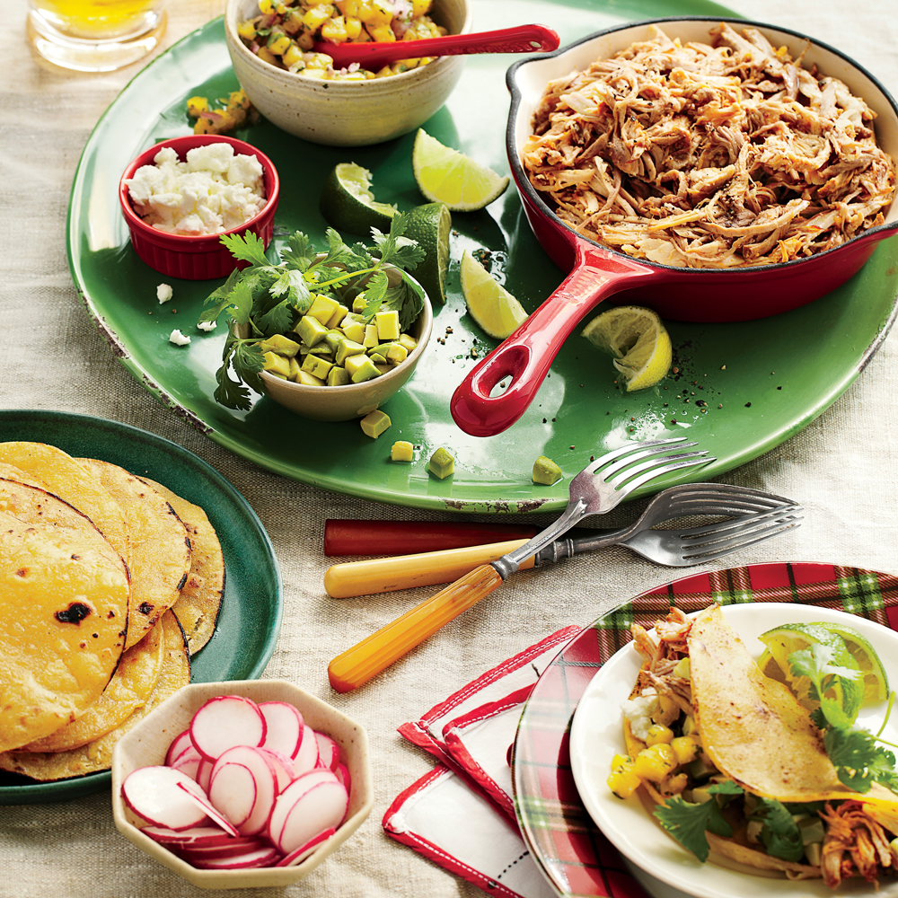 Slow-Cooker Pork Tacos Al Pastor with All the Fixings Recipe