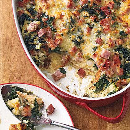 Ham, Gruyère and Spinach Strata