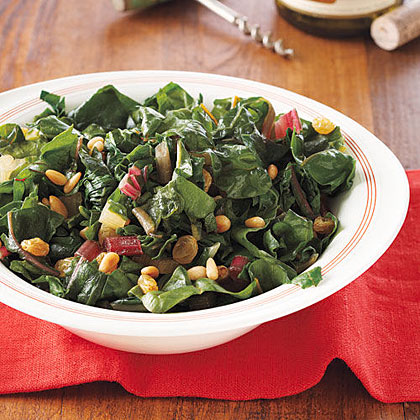 Swiss Chard with Pine Nuts and RaisinsRecipe