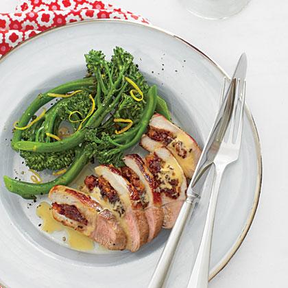 Cranberry-Apricot Stuffed Pork Chop with Broccolini
