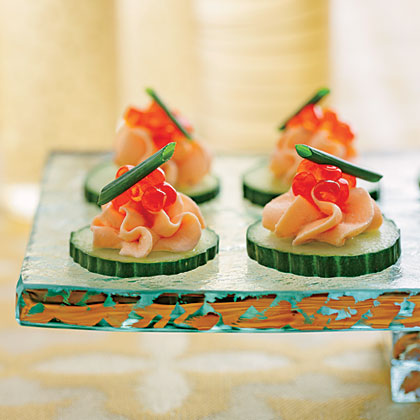 Smoked salmon mousse canap s recipe myrecipes for Canape garnishes