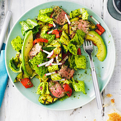 Grilled Steak and Vegetable Salad with Chipotle Chimichurri Dressing Recipe