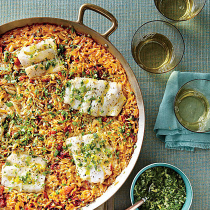 Skillet Orzo with Fish and HerbsRecipe