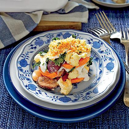 Sweet Potato, Cauliflower, and Greens Casserole