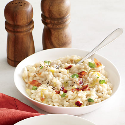 ... bacon bacon and leek risotto with poached egg recipe yummly bacon egg