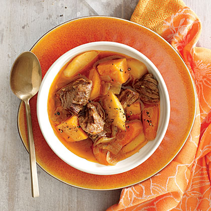 Braised Beef with Onion, Sweet Potato, and Parsnip