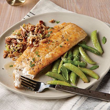 Browned Butter Flounder with Lemon Snap PeasRecipe