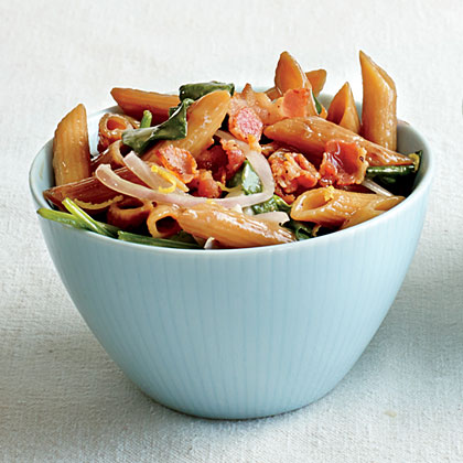 Skillet-Toasted Penne with Bacon and Spinach